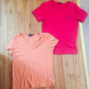 Lot of 2 womens polo Ralph Lauren tshirts Large